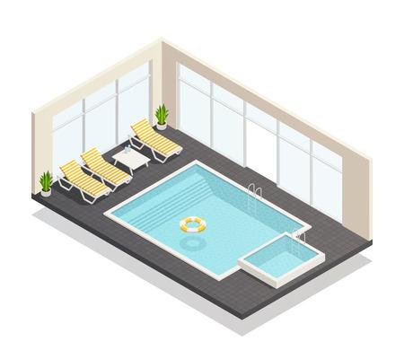 Recreatie overdekt zwembad en leuke bad met zwembad lounge stoelen interieur isometrische samenstelling poster vectorillustratie