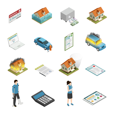 Insurance policy protection elements isometric icons collection with personal injury fire and tornado damage isolated vector illustration Stock Vector - 86223005