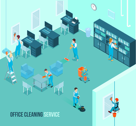 Professional office cleaning team at work wiping mirrors dusting tables vacuuming floor carpets isometric advertisement vector illustration