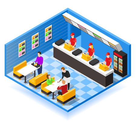 Fast food restaurant isometric design concept with cashiers in red uniform waiter and visitors sitting at table vector illustration