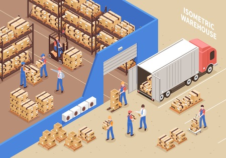 Logistics and warehouse background with workers and cargo symbols isometric vector illustration