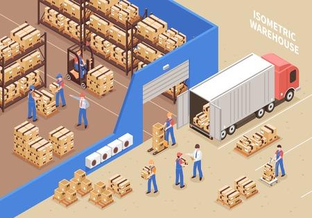 logistique et entrepôt fond avec des travailleurs et des symboles de fret isométrique illustration vectorielle