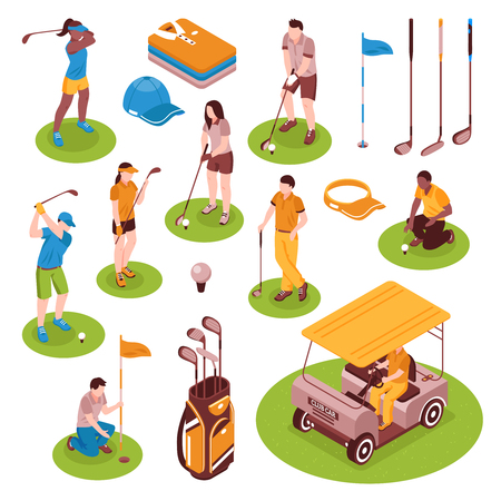 Golf isometric icons set with equipment symbols isolated vector illustration