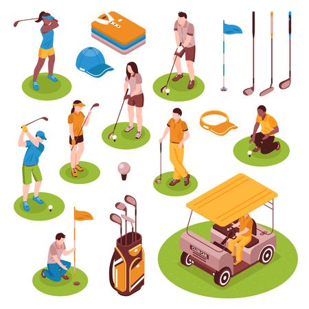 Golf isometric icons set with equipment symbols isolated vector illustration