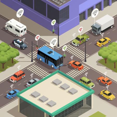 Slimme de technologietechnologie van stadsverkeerslichten verbindende auto's in drukke van de de samenstellingsaffiche van stratenkruisingen de isometrische vectorillustratie Stock Illustratie