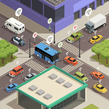 Smart city traffic lights assistance technology connecting  cars in busy streets intersections isometric composition poster vector illustration