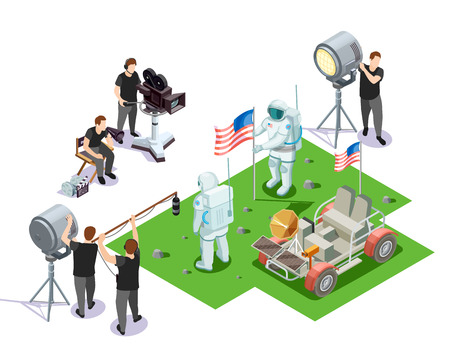 Isometric composition with movie operators shooting scene with american astronauts on white background 3d vector illustration Illusztráció