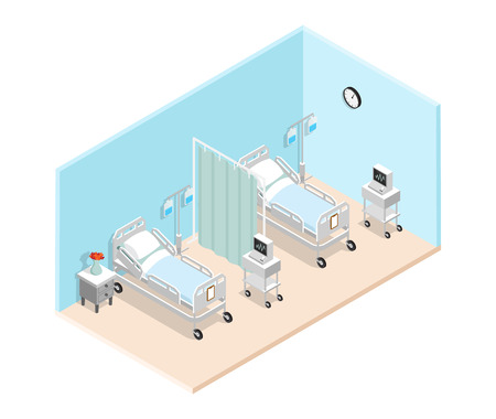 Hospital ward isometric interior with  specialized medical beds for bedridden patients dropper and cardiograph vector illustration