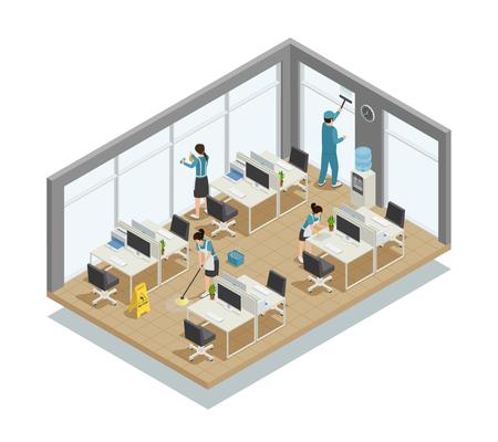 Oficina de limpieza composición isométrica con los trabajadores del equipo en uniforme haciendo lavado de piso, ventanas, escritorios ilustración vectorial