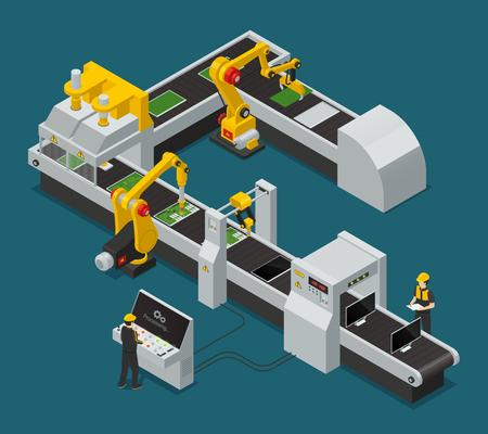 Barwiony elektronika wyposażenia fabryczny personel isometric skład z obiegiem przy fabryczną wektorową ilustracją