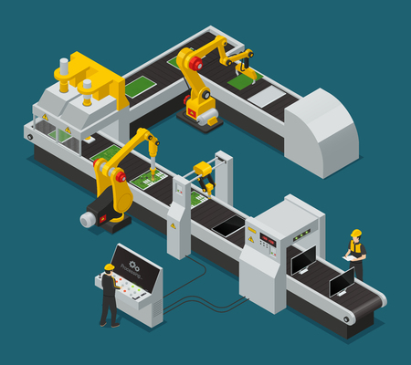 Colored electronics factory equipment staff isometric composition with workflow at the factory vector illustration
