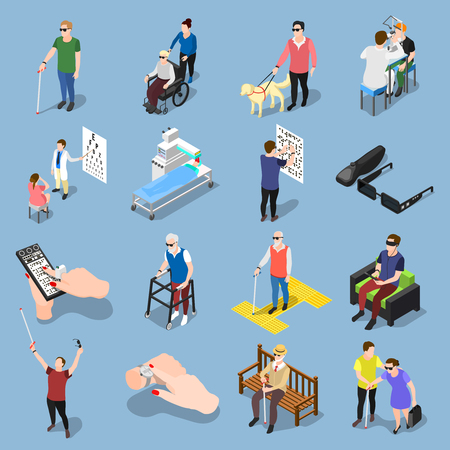 Isometric blind people icons collection of isolated realistic images of sightless human characters in different situations vector illustration Illustration