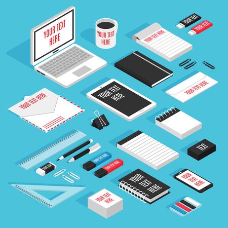 ノートパソコンのタブレットメモ帳ペンで現代の文房具の筆記用具は、鉛筆封筒モックアップアイソメテンプレートセットベクトルイラスト