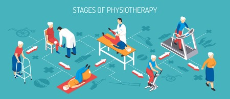 Rehabilitation after injury isometric horizontal vector illustration showing stage of physiotherapy with use of medical equipment and trainers