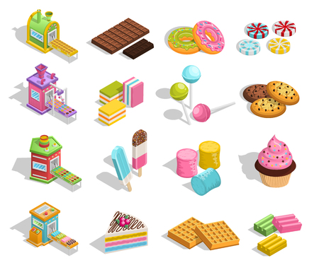 Confectionery factory set of sixteen isolated candy and pastry items pieces of cake donuts and chocolate vector illustration