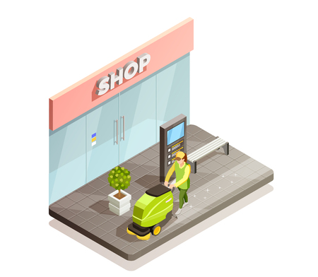 Cleaning isometric design composition with men vacuuming paving slabs near shop vector illustration