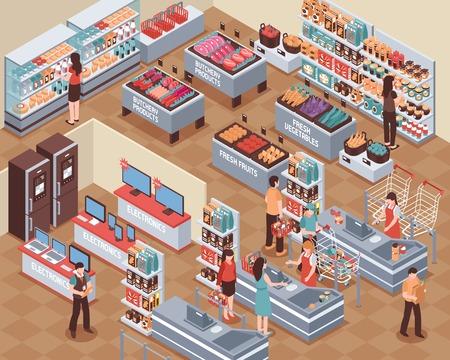 사람들이 음식 음료 및 전자 기호 아이소 메트릭 벡터 일러스트와 함께 슈퍼마켓