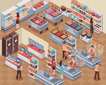 Supermarket with people food drink and electronics symbols isometric vector illustration