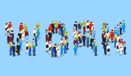 Profession isometric set with groups of uniformed faceless human characters forming the word work vector illustration Çizim