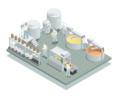 Współczesne fabryki produkcji sera z zautomatyzowanymi etapami obróbki i personelem w jednolitym izometrycznym ilustracji wektorowych kompozycji