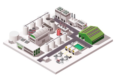 白の背景3d ベクトルイラストの大きな工場工業用アイソメコンポジション  イラスト・ベクター素材