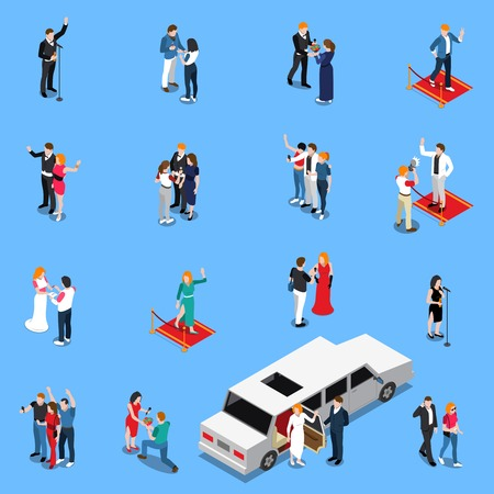 Celebrity isometric set with famous persons near limousine microphone on red carpet with admirers isolated vector illustration