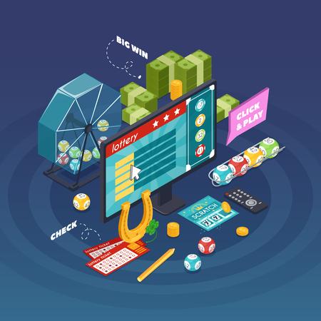 青色の背景のベクトル図にシンボルをギャンブルと宝くじ等尺性組成物  イラスト・ベクター素材