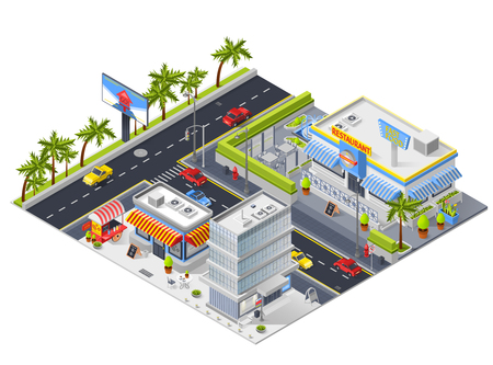 Urban landscape isometric composition with street restaurant building and small cafe for snack isometric vector illustration 版權商用圖片 - 86223044