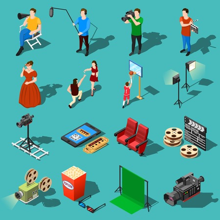 Isometric movie shooting icons collection with human characters of actors and film crew shooting and lighting equipment vector illustration