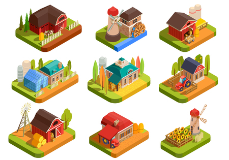 Colorful farm isometric set with various farmhouses yards and equipment for farmers isolated on white background 3d vector illustration