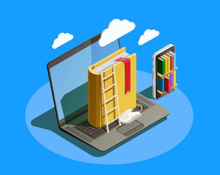 オンライン教育等尺性のアイコン組成ノート パソコン本スマート フォン電子図書館とクラウドコンピューティングの概念画像ベクトル図  イラスト・ベクター素材