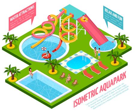 De gekleurde aquapark isometrische samenstelling met wateraantrekkelijkheden ontspant en de vectorillustratie van pretwijzers