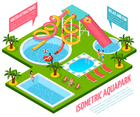 Colored aquapark isometric composition with water attractions relax and fun pointers vector illustration