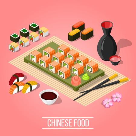 寿司と真希ピンクの背景 3 d 等角投影図のベクトル図にアジアのバーでのおいしい夕食