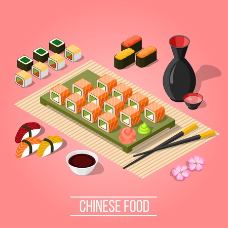 Delicious dinner with sushi and maki at asian bar on pink background 3d isometric vector illustration