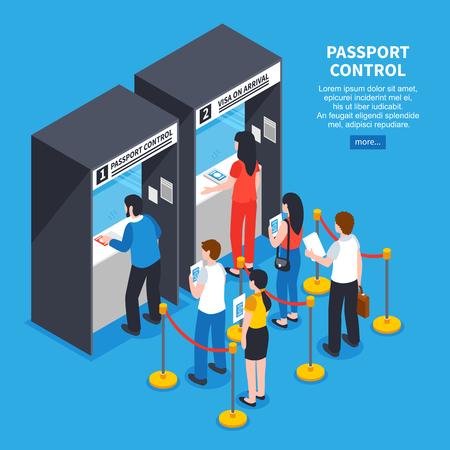 Het binnenland van het paspoortcentrum met de rij van aanvragers en documenten isometrische vectorillustratie