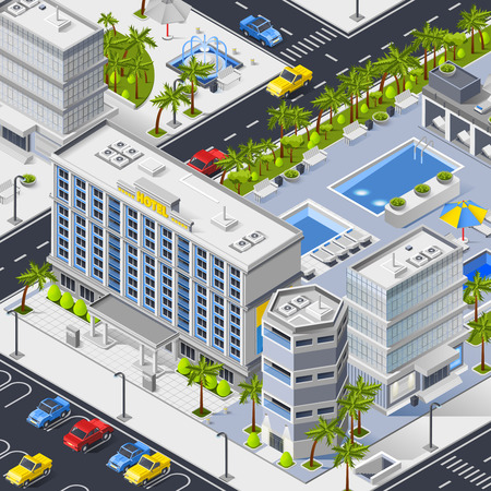 City landscape isometric composition with luxury hotel buildings pools and car parking  vector illustration