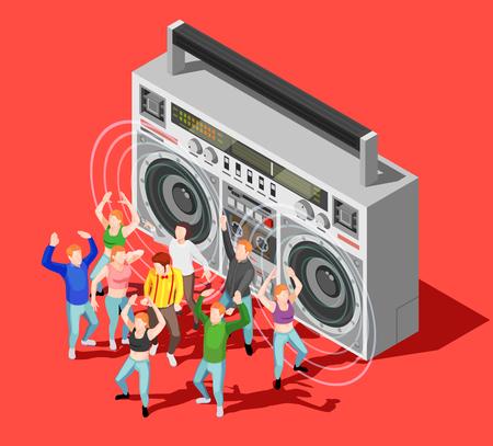 ディスコと赤い背景 3 d ベクター イラストを大きなテープ レコーダーで踊る人々 の幸せと等尺性の概念