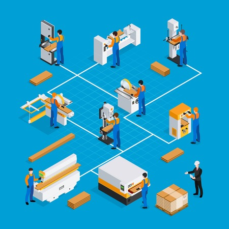 Woodwork isometric composition with equipment and people on blue background  vector illustration