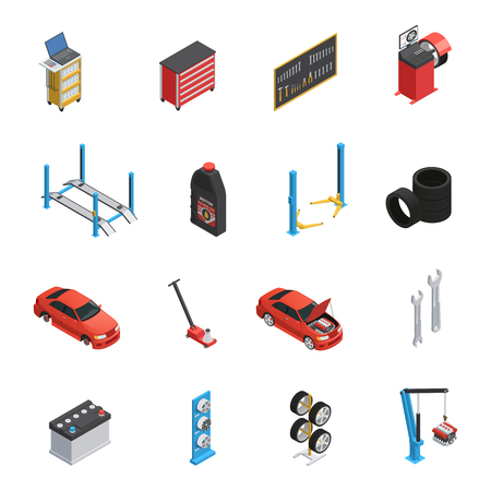 Car maintenance autoservice isometric icons set with garage equipment tools auto parts engine oil isolated vector illustration Illustration