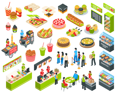 Shopping center indoor plaza fast food court with  vendors and self-serve dinner menu isometric set vector illustration