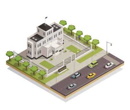 Historisch wit kalk geschilderd de overheidsgebouw in stadscentrum en de omringende vectorillustratie van de gebieds architecturale isometrische samenstelling