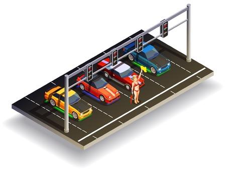 거리 경주 드리프트 아이소 메트릭 컴포지션 신호등 벡터 일러스트와 함께 준비 위치에 다채로운 고속 자동차