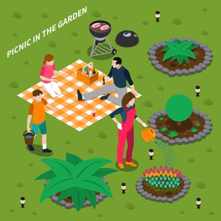 Picknick in concept van het tuin het isometrische ontwerp met de zoon en de dochter die van het papamamma in aard vectorillustratie rusten