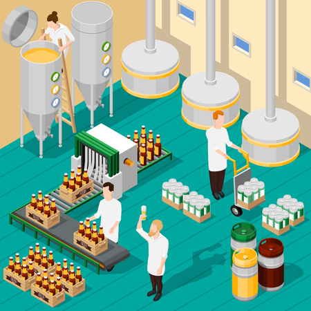 Isometric background with process of beer production in brewery 3d vector illustration Stock Illustratie