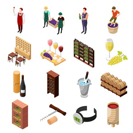 Isometric wine production icons collection with tierce of wine chiller cabinets and working people isolated images vector illustration Illustration