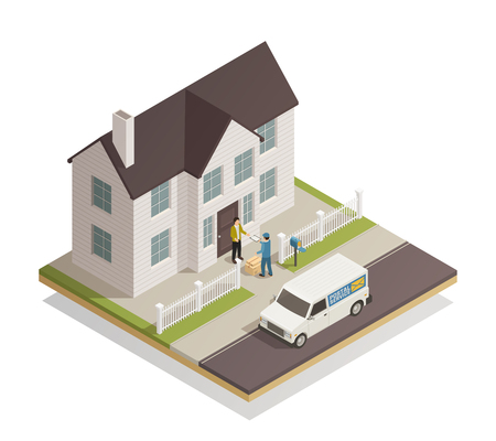 Postal parcels delivery service isometric composition  with postman handling customer package at residential townhouse door vector illustration Ilustração