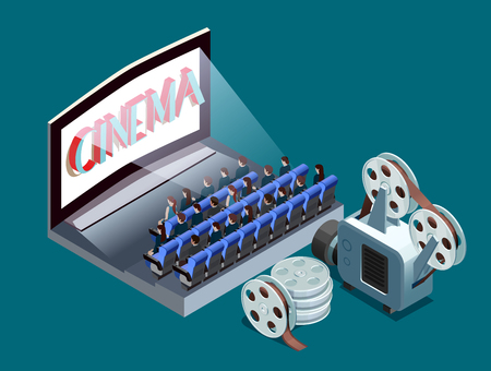 People watching movie at cinema and set of reels 3d isometric vector illustration