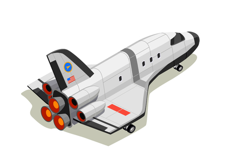 Astronauts space planet exploration isometric composition with isolated interstellar space ship on exhaust thrust with shadows vector illustration