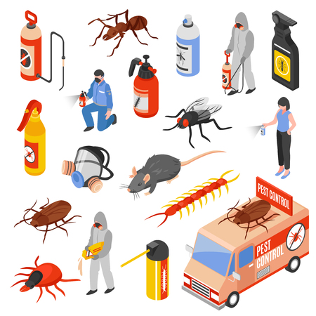 Pest control service workers 3d isometric icons set isolated on white background vector illustration